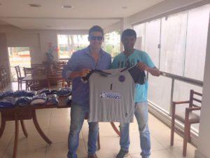 Advogado e goleiro Artur Carvalho com o técnico Hiltinho Soares